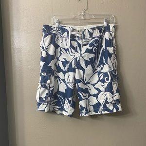 Blue and White Hawaiian Swim Trunks